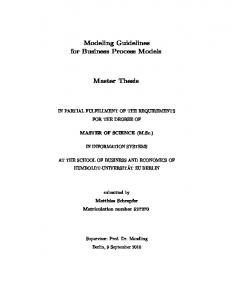 Modeling Guidelines for Business Process Models. Master Thesis