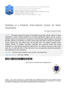 Modeling of a Parabolic Solar-Collector System for Water Desalination