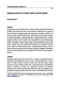 Modeling VaR OF DAX INDEX USING GARCH MODEL
