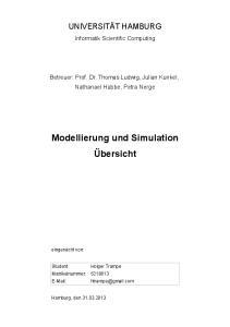 Modellierung und Simulation Übersicht