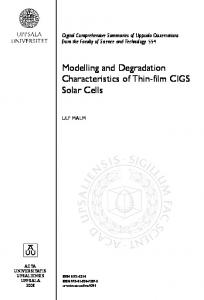 Modelling and Degradation Characteristics of Thin-film CIGS Solar Cells