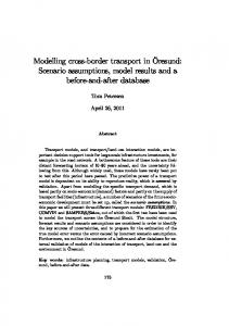 Modelling cross-border transport in Öresund: Scenario assumptions, model results and a. before-and-after data
