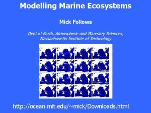 Modelling Marine Ecosystems