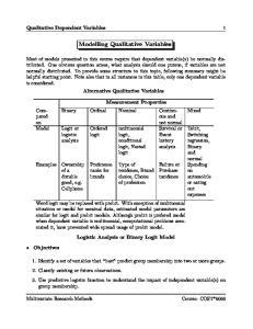 Modelling Qualitative Variables