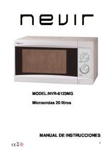 MODEL:NVR-6123MG. Microondas 20 litros MANUAL DE INSTRUCCIONES