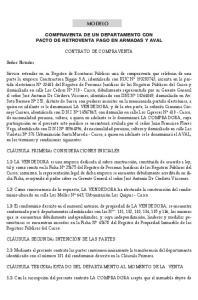 Modelo. COMPRAVENTA DE un DEPARTAMENTO CON PACTO DE RETROVENTA PAGO EN ARMADAS Y AVAL CONTRATO DE COMPRAVENTA