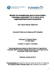 Modelo de competencias para el comunicador estratega sustentable en el marco de la responsabilidad social corporativa