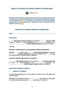 MODELO DE CONTRATO DE AGENCIA COMERCIAL INTERNACIONAL CONTRATO DE AGENCIA COMERCIAL INTERNACIONAL