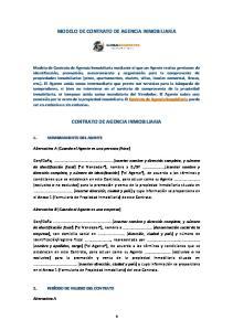 MODELO DE CONTRATO DE AGENCIA INMOBILIARIA CONTRATO DE AGENCIA INMOBILIARIA