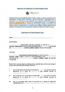 MODELO DE CONTRATO DE CONFIDENCIALIDAD CONTRATO DE CONFIDENCIALIDAD