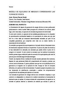 MODELO DE EQUILIBRIO DE MERCADO CONSIDERANDO LAS CURVAS DE OFERTA