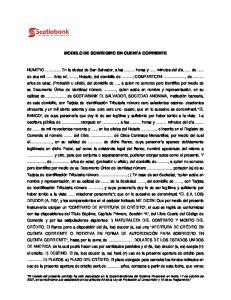 MODELO DE SOBREGIRO EN CUENTA CORRIENTE