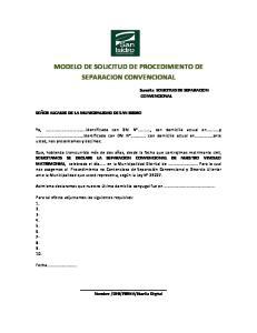 MODELO DE SOLICITUD DE PROCEDIMIENTO DE SEPARACION CONVENCIONAL