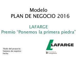 Modelo PLAN DE NEGOCIO 2016