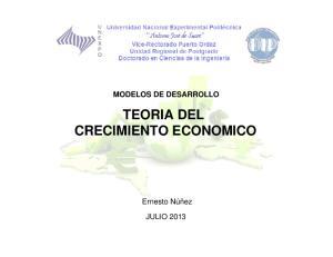 MODELOS DE DESARROLLO TEORIA DEL CRECIMIENTO ECONOMICO