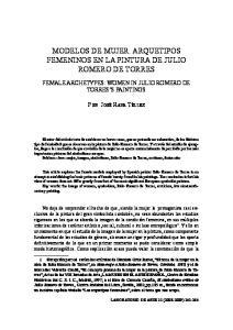 MODELOS DE MUJER. ARQUETIPOS FEMENINOS EN LA PINTURA DE JULIO ROMERO DE TORRES