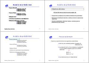 Modelos de probabilidad. Modelos de probabilidad. Modelos de probabilidad. Proceso de Bernoulli. Objetivos del tema: