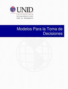 Modelos Para la Toma de Decisiones