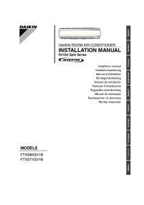 MODELS DAIKIN ROOM AIR CONDITIONER INSTALLATION MANUAL FTXS60GV1B FTXS71GV1B. R410A Split Series