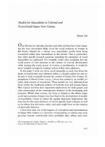 Models for Masculinity in Colonial and Postcolonial Papua New Guinea