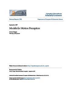 Models for Motion Perception