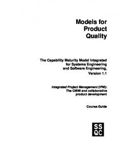 Models for Product Quality