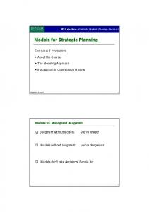 Models for Strategic Planning