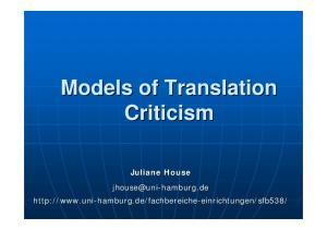 Models of Translation Criticism