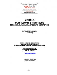 MODELS PDR-1000AN & PDR-1200S PERSONAL DATARAM PARTICULATE MONITORING