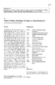Modern Antibody Technology: The Impact on Drug Development