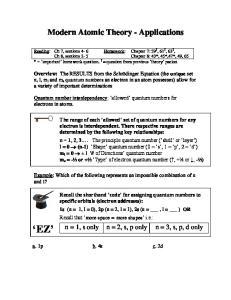 Modern Atomic Theory - Applications
