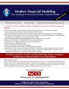 Modern Financial Modeling. Modeling - Your. Your Roadmap to Powerful, Dynamic Financial Models