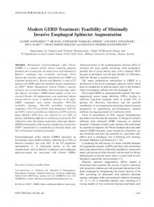 Modern GERD Treatment: Feasibility of Minimally Invasive Esophageal Sphincter Augmentation