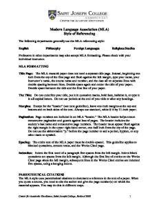 Modern Language Association (MLA) Style of Referencing