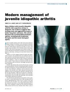 Modern management of juvenile idiopathic arthritis