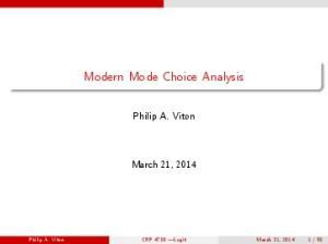 Modern Mode Choice Analysis