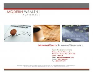 MODERN WEALTH PLANNING WORKSHEET