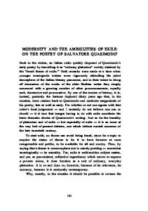 MODERNITY AND THE AMBIGUITIES OF EXILE: ON THE POETRY OF SALVATORE QUASIMODO 1