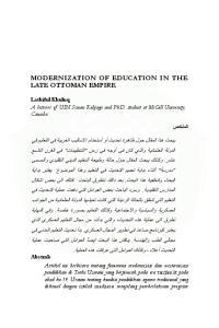 MODERNIZATION OF EDUCATION IN THE LATE OTTOMAN EMPIRE