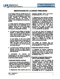 MODIFICACION DE LA UNIDAD TRIBUTARIA
