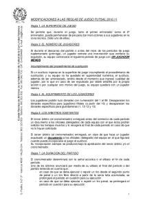 MODIFICACIONES A LAS REGLAS DE JUEGO FUTSAL