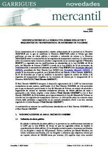 MODIFICACIONES EN LA NORMATIVA SOBRE FOLLETOS Y REQUISITOS DE TRANSPARENCIA DE EMISORES DE VALORES