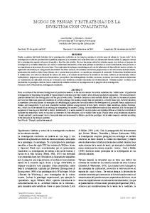 MODOS DE PENSAR Y ESTRATEGIAS DE LA INVESTIGACION CUALITATIVA