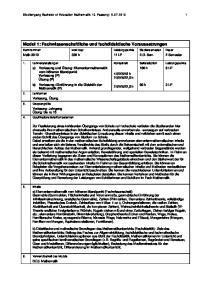 Modul 1: Fachwissenschaftliche und fachdidaktische Voraussetzungen