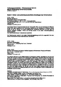 Modul 1: Kultur- und sozialwissenschaftliche Grundlagen des Performativen
