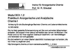 Modul BCh 1.2 Praktikum Anorganische und Analytische Chemie I