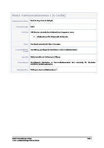 Modul: Kommunikationsnetze 1 [6 Credits]