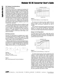 Modular DC DC Converter User s Guide