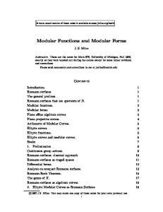 Modular Functions and Modular Forms