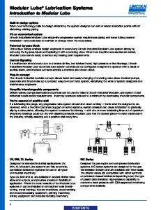 Modular Lube Lubrication Systems Introduction to Modular Lube